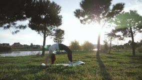 Menina atrativa nova que faz exerc?cios, colocando e esticando em uma esteira da ioga no parque Conceito ativo saud?vel vídeos de arquivo