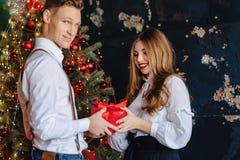 A menina atrativa nova recebe atual do homem no fundo de uma árvore de Natal, conceito do ano novo imagem de stock