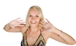 A menina atrativa tem o ventilador Fotografia de Stock Royalty Free