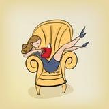 A menina autossuficiente lê o livro no conceito elegante lido ilustração do vetor da poltrona ilustração royalty free