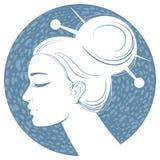 Menina azul da silhueta ilustração do vetor