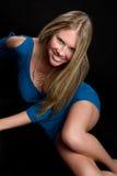 Menina azul do vestido fotos de stock royalty free