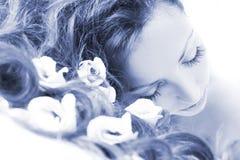 Menina azul nos termas fotografia de stock royalty free