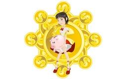 Menina, banco piggy e moeda de ouro Fotos de Stock Royalty Free