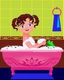 a menina banha-se em um banho Fotos de Stock Royalty Free