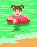 A menina banha-se no mar Foto de Stock Royalty Free
