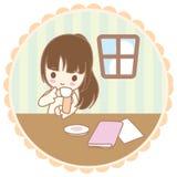 A menina bebe o café ilustração do vetor