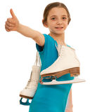 Menina bem sucedida com patins imagem de stock royalty free