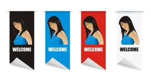 Menina bem-vinda da bandeira do vetor Foto de Stock Royalty Free