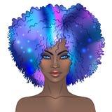 Menina bonita afro-americano Bla misterioso da ilustração do vetor ilustração royalty free