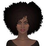 Menina bonita afro-americano Ilustração do vetor da mulher negra ilustração stock