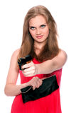 A menina bonita aponta um injetor Imagens de Stock Royalty Free