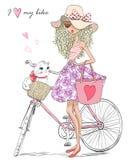 A menina bonita, bonito tirada mão está perto da bicicleta com uma cesta completamente das flores ilustração stock