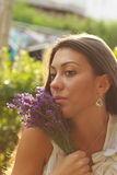 Menina bonita com alfazema Imagens de Stock Royalty Free