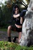 Menina bonita com arma Fotografia de Stock