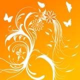 Menina bonita com as flores no cabelo Fotos de Stock
