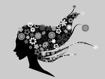 Menina bonita com as flores no illustr do cabelo Imagens de Stock Royalty Free