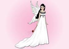 Menina bonita com asas e uma varinha mágica Imagens de Stock Royalty Free