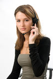 Menina bonita com auriculares fotos de stock royalty free