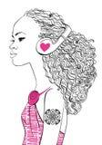 Menina bonita com auscultadores ilustração royalty free