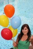 Menina bonita com balões Fotografia de Stock Royalty Free