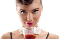 Menina bonita com bebida Imagens de Stock Royalty Free