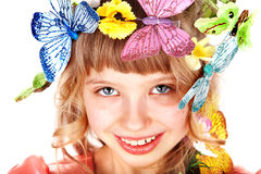 Menina bonita com borboleta e flor. Imagens de Stock
