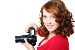 Menina bonita com câmera foto de stock royalty free