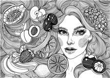 menina bonita com cabelo e frutos longos ilustração royalty free