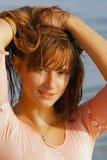 Menina bonita com cabelo longo fotos de stock royalty free