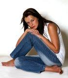 Menina bonita com cabelo longo escuro Imagem de Stock
