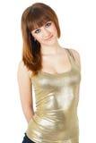 Menina bonita com cabelo vermelho Fotografia de Stock