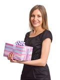 Menina bonita com caixa de presente Fotos de Stock