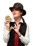 Menina bonita com cartões Imagens de Stock Royalty Free