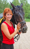Menina bonita com cavalo Foto de Stock