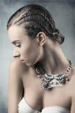 Menina bonita com composição brilhante estrelado Imagens de Stock
