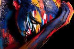Menina bonita com composição colorida brilhante Foto de Stock Royalty Free