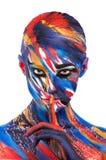 Menina bonita com composição colorida brilhante Fotos de Stock Royalty Free