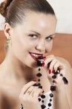 Menina bonita com decorações Imagens de Stock Royalty Free