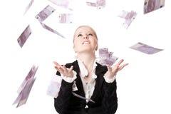 Menina bonita com dinheiro Fotos de Stock Royalty Free