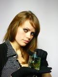 Menina bonita com espírito nas mãos Imagens de Stock Royalty Free
