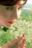 Menina bonita com flor fotografia de stock