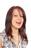 Menina bonita com a framboesa na boca Imagens de Stock