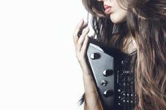 Menina bonita com guitarra Fotos de Stock