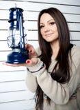 Menina bonita com lanterna Imagens de Stock