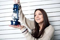 Menina bonita com lanterna Foto de Stock