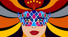 Menina bonita com máscara ilustração stock