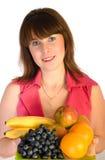 Menina bonita com o prato das frutas Fotos de Stock Royalty Free