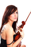 Menina bonita com o violino Fotografia de Stock Royalty Free