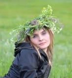 A menina bonita com olhos azuis Fotografia de Stock